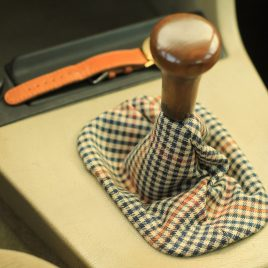 Wooden Gear shift knob with tartan fabric covering