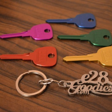 Colored alloy blank key.
