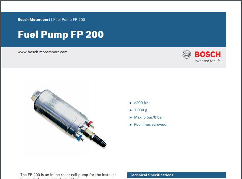 Bosch Fuel Pump FP 200 Datasheet (a.k.a the 044) - E28 Goos