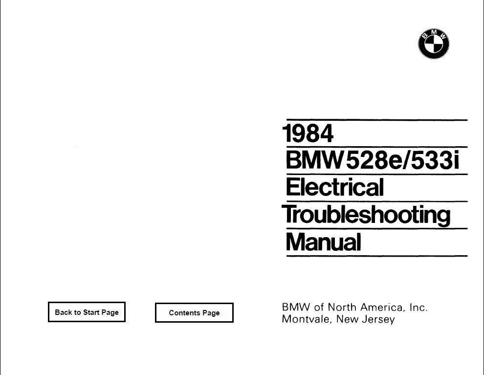 E28 528e/533i Electrical troubleshooting manual 1984