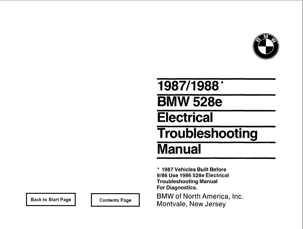 E28 528e Electrical troubleshooting manual 1987