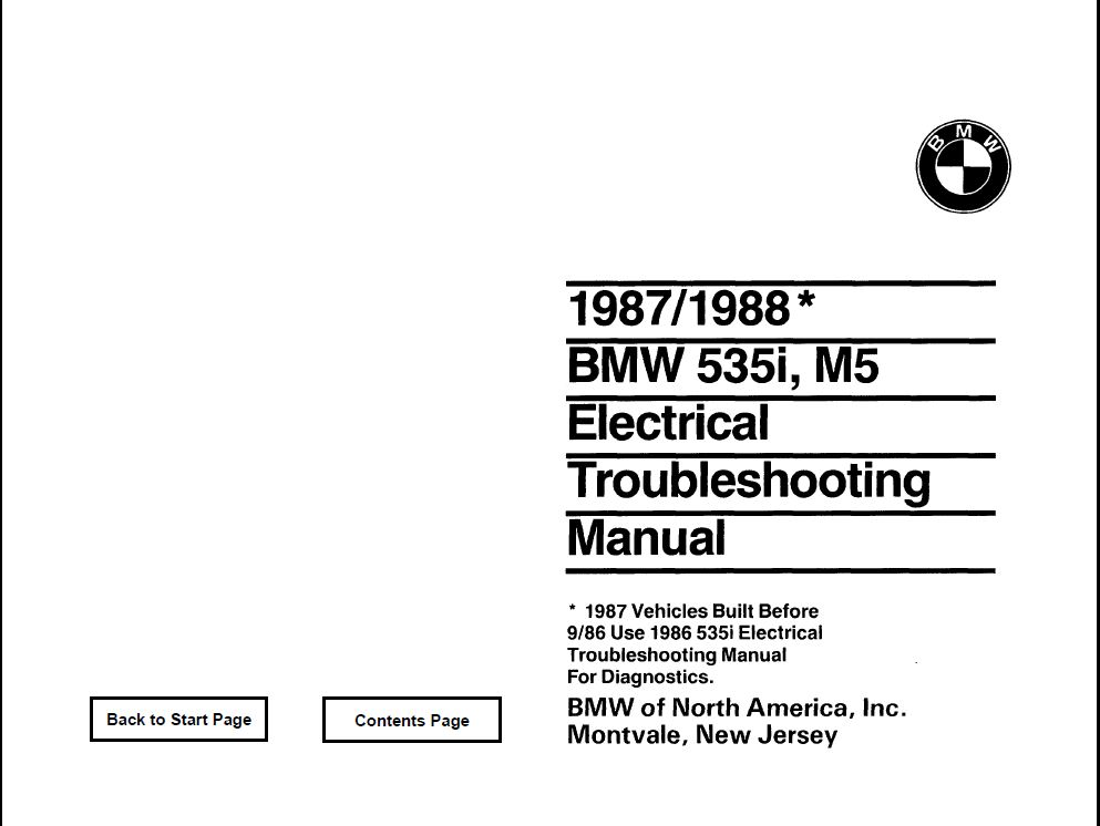 E28 535i/M5 Electrical troubleshooting manual 1988