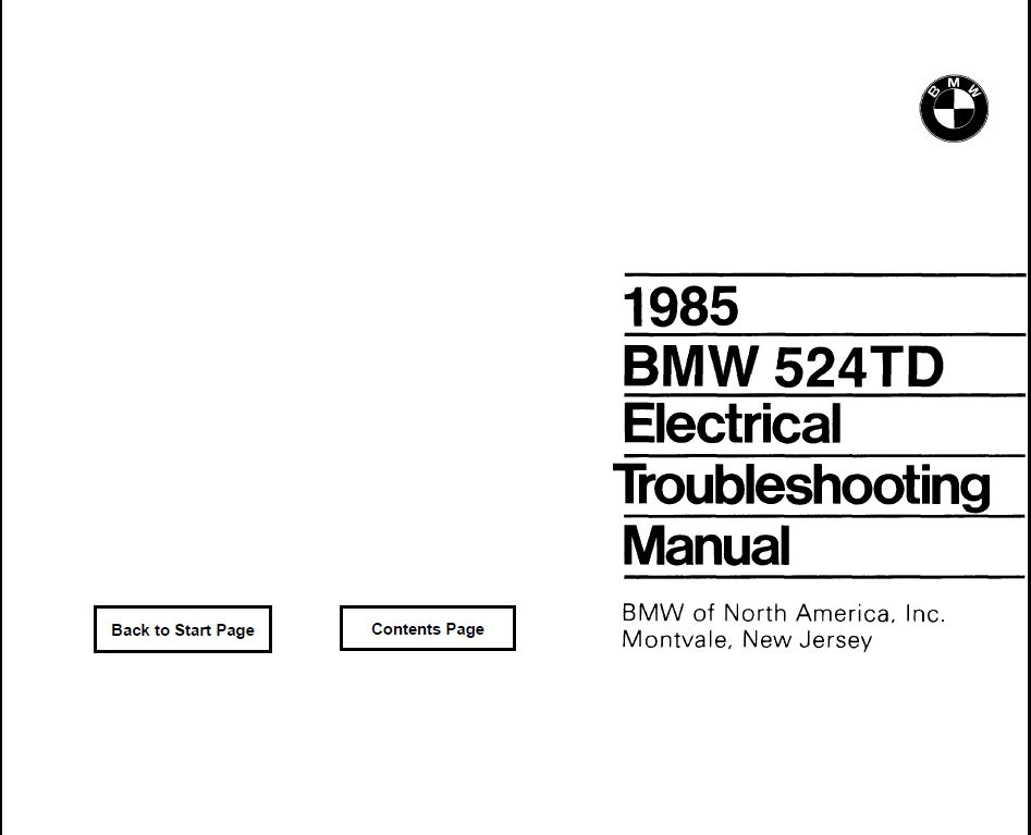 E28 524TD Electrical troubleshooting manual 1985
