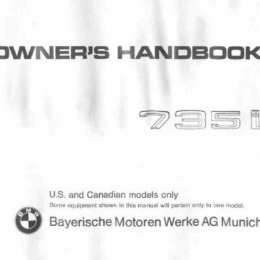 Bmw 735 e23 owners handbook