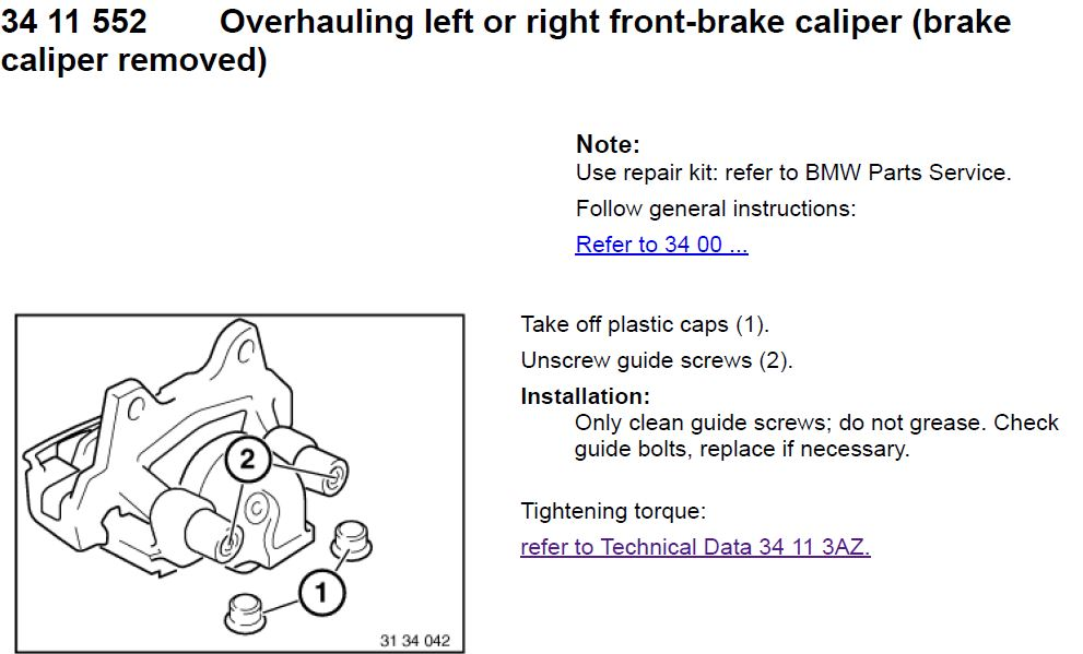 Overhauling front-brake calipers – guide from BMW TIS